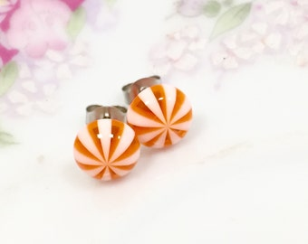Orange Dream Earrings, Orange Ear Studs, Orange Peppermint Earrings, Orange Stripes Earrings, Sensitive Ear Studs (SE4)