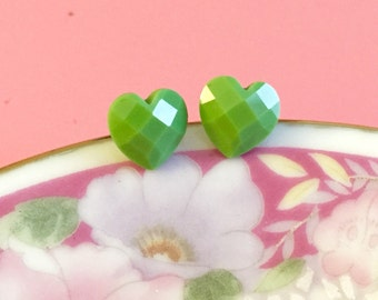Sage Green Heart Studs, Heart Stud Earrings, Resin Jewelry, Valentine's Day Studs, St Patrick's Day Studs, Surgical Steel Studs (LB3)