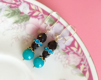 Turquoise Bead Earrings, Rhinestone Dangle Earrings, Black Bead Earrings, Beaded Dangle Earrings