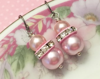 Pink Pearl Earrings, Pink Rhinestone Earrings, Pink Pearl Drop Earrings, Short Dangle Earrings, Pink Earrings, KreatedByKelly