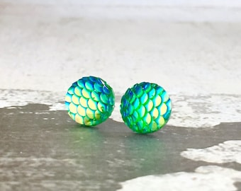 Green Dragon Scale Studs, Surgical Steel Studs, Fantasy Studs, Shimmering Mermaid Studs, Green Mirrored Studs