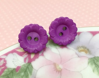 Purple Daisy Studs, Button Stud Earrings, Purple Flower Studs, Stainless Steel Studs, Flower Jewelry, Purple Button Daisy Stud (SE4)