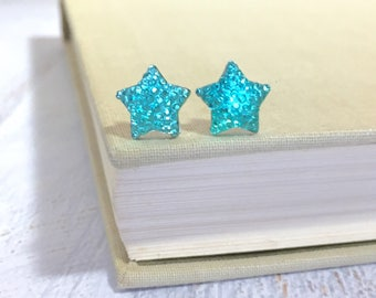 Small Sparkling Bumpy Druzy Aqua Celestial Star Stud Earrings with Surgical Steel Posts (SE13)
