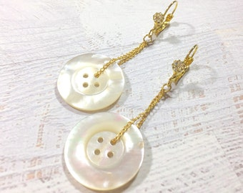 Pearl and Rhinestone Earrings, Vintage Mother of Pearl Button Earrings, Repurposed Button Jewelry, Long Dangle Earrings, KreatedbyKelly