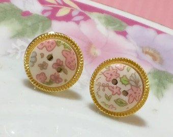 Vintage Button Stud Earrings made with Gorgeous Small Lightweight Gold Toned Rimmed Pie Plate Pink Flower Bouquet, Surgical Steel (SE22)