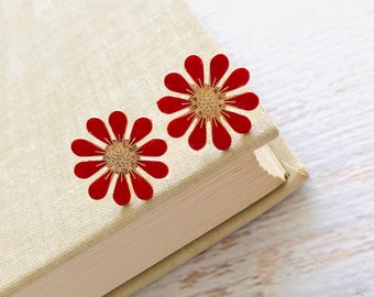 Red Daisy Stud Earrings, Bohemian Retro, Hippie Flower Power, Red Enameled Metal, 19mm, Gold Accents