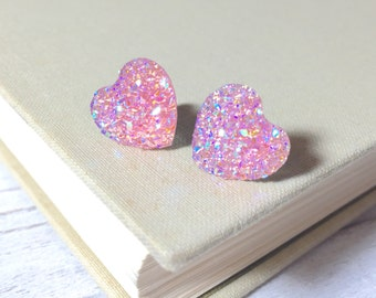 Light Pink Heart Earrings, Valentine's Earrings, Faux Druzy Heart Earrings, Sparkly Earrings, Flower Girl Earrings, KreatedByKelly (SE10)