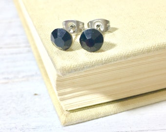 Black Rhinestone Stud Earrings, Small Black Rhinestone Studs, Black Glass Studs, Black Earrings, Surgical Steel Studs (HJ4)
