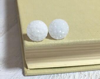 White Druzy Studs, Druzy Stud Earrings, White Stud Earrings, Glitter Stud Earrings, Winter White Earrings (SE11)