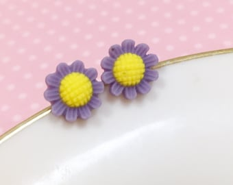 Purple Daisy Studs, Purple Flower Earrings, Flower Girl Earring, Sensitive Ear Stud, Purple Sunflower Stud, Bridesmaid Gift (SE3)