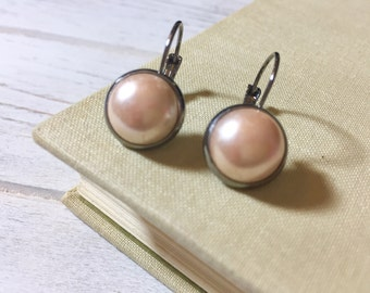 Czech Glass Drop Earrings, Lever Back Earrings, Cream Colored Czech Glass Pearl Earrings, Chic Earrings, Simple Earrings