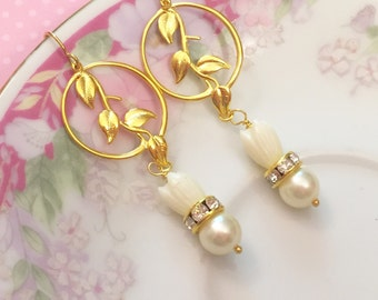White Flower Earrings, Tulip Flower Earrings, Rhinestone Earrings, Gold Leaf Earrings, Bridal Wedding Earrings, Handmade By KreatedByKelly