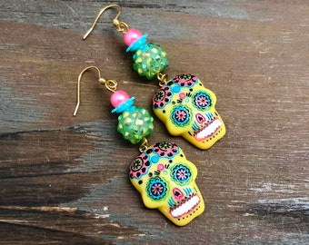 Bright Yellow Day of the Dead Sugar Skull with Painted Face Long Beaded Dangle Halloween Earrings with Surgical Steel Ear Wires (DE4)