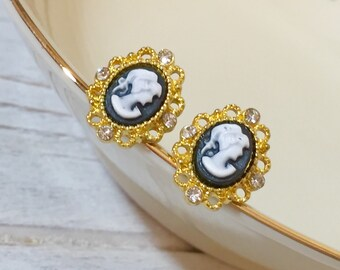 Cameo Stud Earrings, Victorian Lady, Rhinestone Accented Gold Filigree Frame, Fancy Cameo Studs, Romantic Jewelry, Tiny Cameo Studs