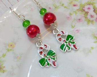 Candy Cane Earrings, Christmas Earrings, Holiday Jewelry, Red and Green Earrings, Candy Earrings, Festive Earrings, KreatedByKelly