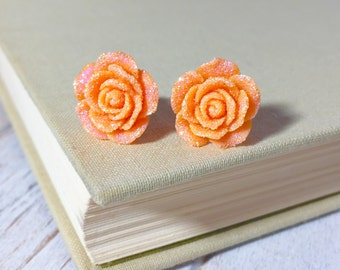 Sparkling Orange Flower Stud, Orange Rose Stud, Glitter Druzy Flower Stud, Surgical Steel Stud, Flower Stud Earrings (SE9)