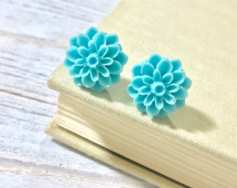 Light Teal Chrysanthemum Flower Earrings, Bridesmaid Gift Earrings, Flower Post Earrings, Surgical Steel Posts, KreatedByKelly