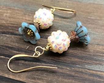 Czech Glass Flower Earrings in In Blue, Brown and Sparkling Off White with Gold Toned Findings, Pretty Floral Earrings