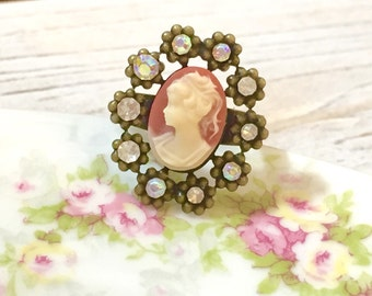 Cameo Ring, Pink and Cream Neo-Victorian Cameo w/ Rhinestone Border, Pink Cameo Ring, Rhinestone Statement Ring, Handmade by KreatedByKelly