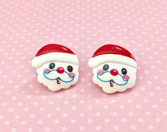 Adorable Whistling Santa Claus Stud Earrings for Christmas Holiday, Surgical Steel Posts