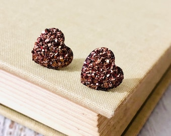 Small Metallic Chocolate Brown Faux Druzy Small Resin Heart Stud Earrings for Valentines, Surgical Steel