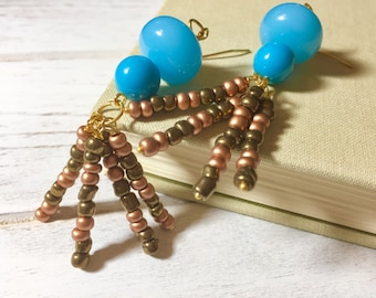 Retro Dangle Earrings, Bohemian Earrings, Repurposed Boho Turquoise Earrings, Copper Brown Earrings, Beaded Tassel Earrings, KreatedbyKelly