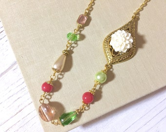 White Chrysanthemum Necklace, Asymmetrical Necklace, Beaded Necklace, Vintage Assemblage Necklace, Pink, Green, Woodland Necklace