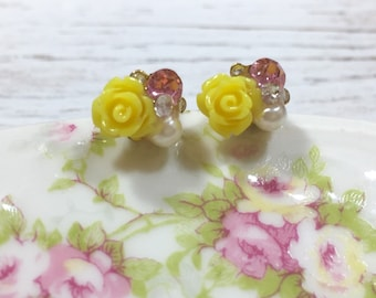 Bridal Flower Stud Earrings, Bead Cluster Stud Earring, Tiny Yellow Flower Studs, Rhinestone Flower Studs, Fancy Floral Stud, KreatedbyKelly