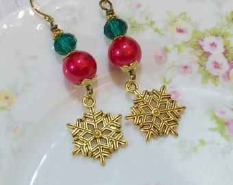 Snowflake Earrings, Christmas Earrings, Holiday Jewelry, Red and Green Earrings, Winter Earrings, Gold Snowflake Earrings, KreatedByKelly