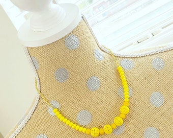 Handmade Sunshine Yellow Vintage Filigree Bead Necklace with Lobster Clasp Closure