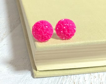 Small Bright Pink Druzy Studs, Bright Pink Stud Earrings, Bumpy Pink Stud Earring, Pink Glitter Stud Earrings (SE9)