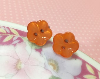 Orange Flower Earrings, Orange Daisy Studs, Flower Stud Earrings, Orange Flower Studs, Surgical Steel Button Studs