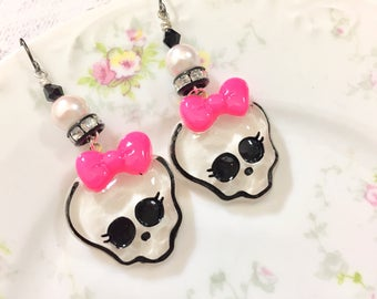 Cute Halloween Skull with Pink Bow Long Beaded Dangle Rhinestone Earrings with Surgical Steel Ear Wires