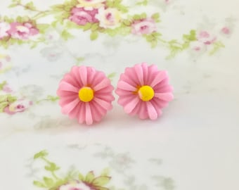 Pink Flower Earrings, Pink Daisy Stud Earrings, Surgical Steel Studs,  Pink Gerbera Daisy Studs, Bridesmaid Gift Wedding Earrings (SE8)