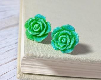 Sparkling Green Flower Stud, Lime Green Rose Stud, Glitter Druzy Flower Stud, Surgical Steel Stud, St Patrick's Day Studs (SE9)