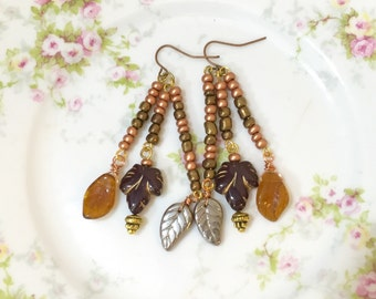 Long Leaf Earrings, Czech Glass Leaf Earrings, Brown Fall Leaf Earrings, Woodland Earrings, Autumn Jewelry, Bohemian Earrings