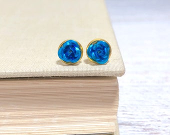 Tiny Little Blue Metal Rose Flower Dainty Stud Earrings in Setting Like a Potted Plant