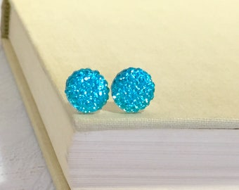 Little Aqua Sparkling Bumpy Druzy Round Circle Stud Earrings with Surgical Steel Posts (SE13)