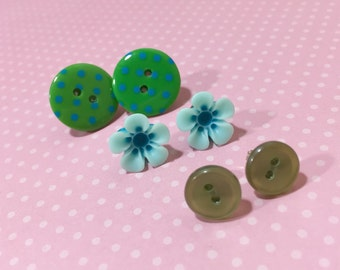 Earring Set, Blue Flower Earrings, Blue Daisy Studs, Green Polka Dot Button Studs, Vintage Pearly Green Button Studs, Stocking Stuffer (ES1)