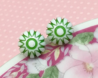 Retro Earrings, Peppermint Stud Earrings, Lime Green Daisy Studs, Green Starburst Studs, Vintage Gumdrop Cabochon Stud, KreatedByKelly (SE3)
