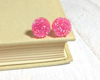 Bubblegum Pink Druzy Studs, Pink Stud Earrings, Pink Drusy Studs, Druzy Jewelry, Surgical Steel Studs, KreatedByKelly (SE9)