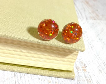 Sparkling Pumpkin Orange Gum Drop Glitter Ear Studs for Halloween and Fall, Surgical Steel