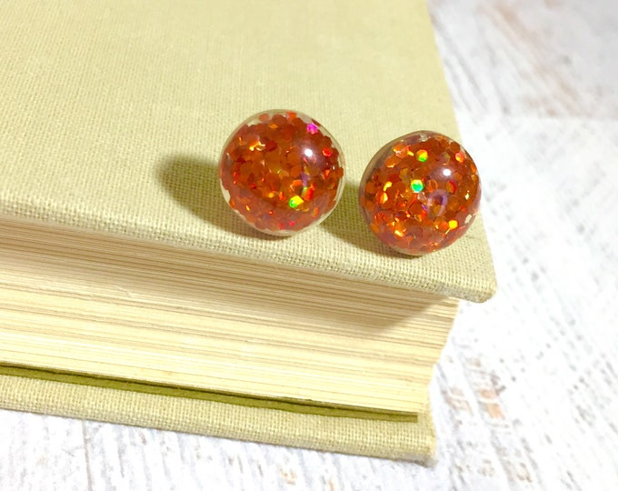 Featured listing image: Sparkling Pumpkin Orange Gum Drop Glitter Ear Studs for Halloween and Fall, Surgical Steel