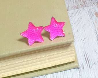 Bright Neon Pink Sparkling Faux Druzy Star Stud Earrings with Surgical Steel Posts (SE15)