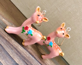 Kawaii Deer Earrings, 3D Deer with Floral Bouquet Decoration in Peachy Pink, Brown and Gold, Stainless Steel Ear Wires