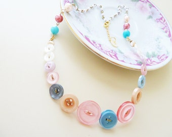 Pastel Necklace, Pastel Beaded Button Necklace, Repurposed Jewelry, Pearl Button Necklace, Button Jewelry, KreatedbyKelly