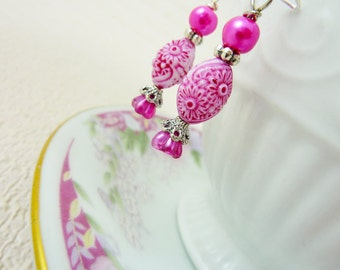 Pink Flower Earrings, Pretty Bright Pink Dangle Earrings, Vintage Carved Floral Bead Bell Flowers Silver Accents