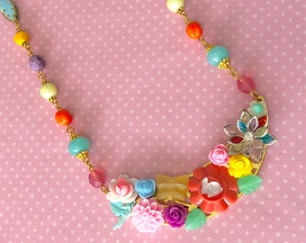 Flower Collage Assemblage Easter Bunny Rabbit Statement Necklace with Handmade Colorful Beaded Chain