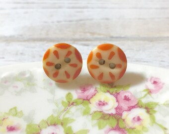 Vintage China Button Earrings, Orange Button Studs, Button Stud Earring, Orange Dashes on Ivory, Orange Flower Stud, Small Button Stud (LB1)