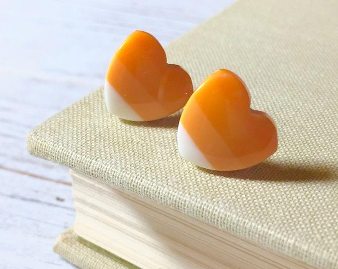 Featured listing image: Candy Corn Earrings, Orange Yellow Heart Studs, Candy Corn Heart Studs, Halloween Studs, Fall Autumn Studs, Kawaii Kitschy Stud (SE2)